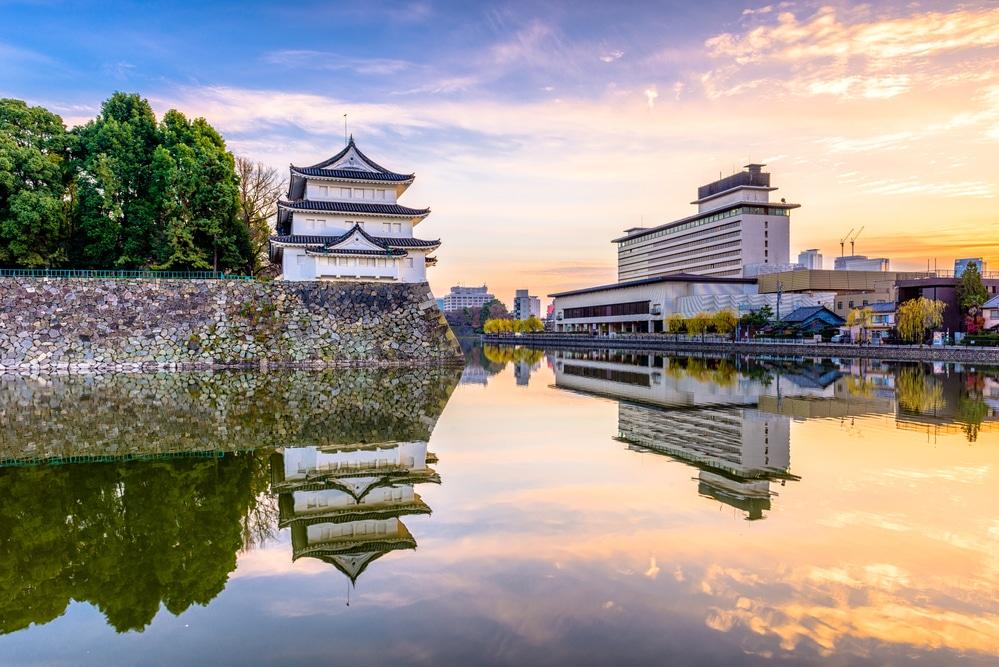 Nagoya, Japan castle moat at twilight.